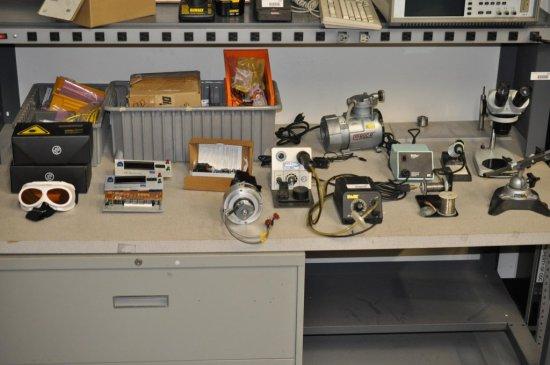 Mini Vise, Microscope, Protective eyewear + soldering equipment