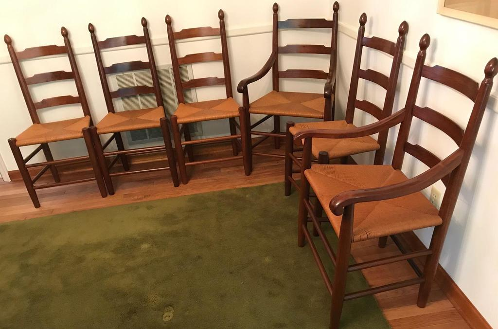 (6) Solid Cherry Rush Seat Ladderback Dining Chairs By Clores (Virginia)