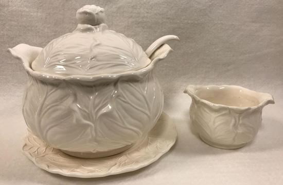 Ceramic Soup Tureen & Under-plate with Ladle and (2) Bowls