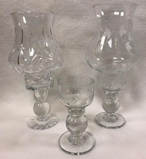 Pair of Crystal Candlesticks plus (1) Crystal Candlestick and (2) Crystal Hurricane Globes