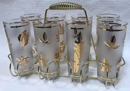 Set of 8 Mid-century Libbey Frosted Gold Leaf Tumblers in Caddy