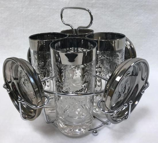 "Set of 4 Mid-century Kimiko Silver ""Guardian"" Tumblers and Coasters in Caddy"