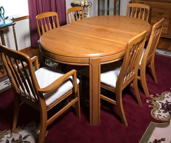 Oak Dining Table with (6) Chairs and (2) Leaves by Keller