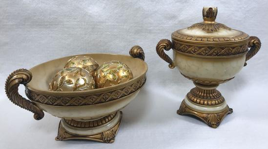 Grecian-Motif Decorative Resin Covered Urn, Bowl and (3) Decorator Balls