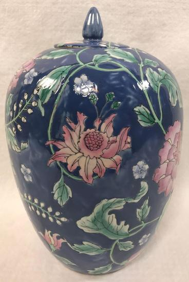 Blue Ginger Jar with Pink Flowers
