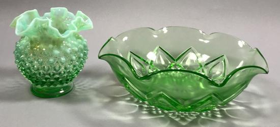 Fenton Hobnail Opalescent Glass Ruffled Vase & Anchor Hocking Bowl