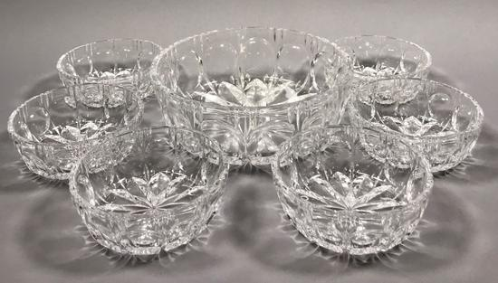 Vintage Glass Berry Bowl Set with (6) Fruit Bowls