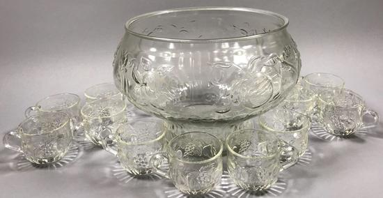 Jeannette Glass Punchbowl with 12 Cups