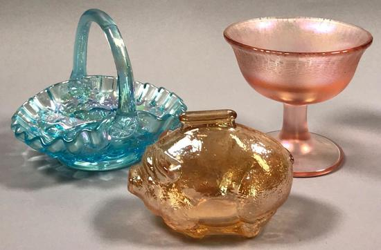(3) Carnival Glass Pieces