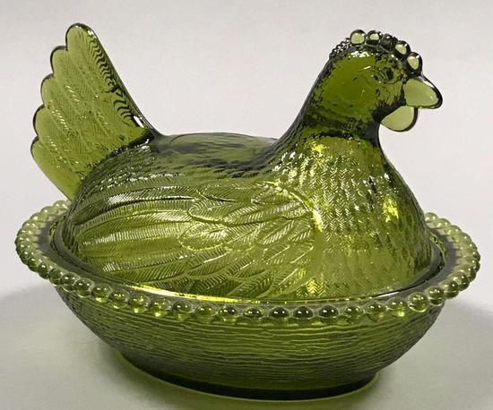 Green Indiana Glass Hen on Nest