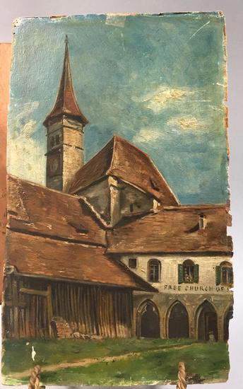 Antique French Painting Depicting the Interlaken Monastery