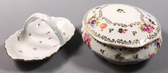 """Royal Limoges """"Gilda"""" Porcelain Handled Basket"""
