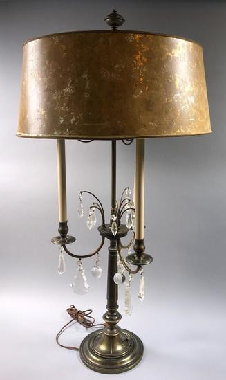 Large Bronze Lamp with Crystal Teardrops (LPO)
