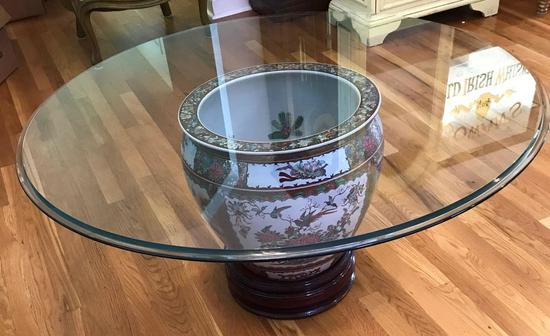 Asian Urn Glass-Top Coffee Table (LPO)
