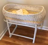 Wicker Baby Bassinet Bed with Stand and Mat (LPO)