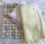 (3) Baby Blankets: Crocheted and Knit