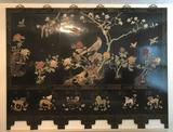 6-Panel Folding Lacquer and Jade Oriental Room Screen - Special Shipping Note