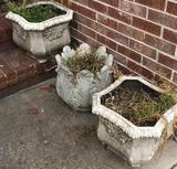 (1) Round Concrete Planter and (1) Pair Faux Concrete Planters (LPO)