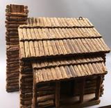 Miniature Log Cabin with Glass Windows