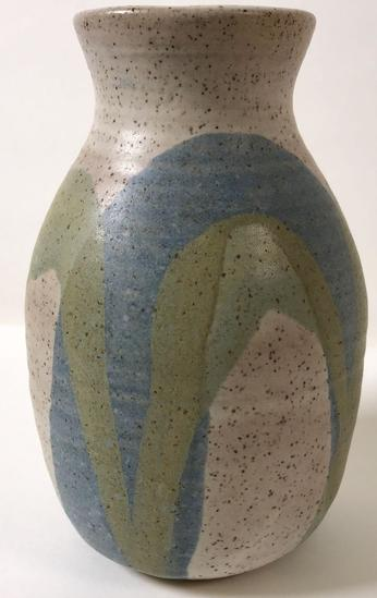 Modern Artisan Multi-Colored Pottery Vase Signed Arch Pike (1937-2007)