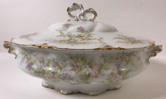 Rosenthal Continental Large Oval Covered Vegetable Dish with Gold Trim