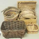 (4) Woven baskets and (8) straw hats