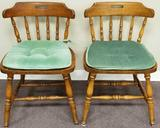 (2) Wooden Chairs w/seat covers (LPO)