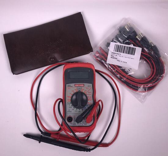 Digital Multimeter, Extra Leads, and Lead Plug Pigtails