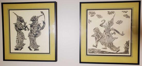 Pair of Framed Indonesian Ramanyana Brass Rubbing Prints (LPO)