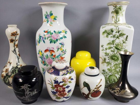 (4) Oriental Style Vases and (4) Ginger Jars (LPO)