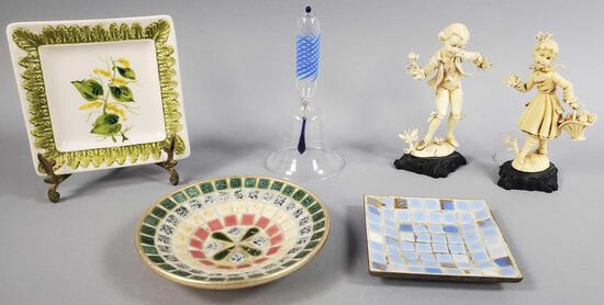 Assorted Smalls: Italian Plate, Tile Dishes, Figures and More