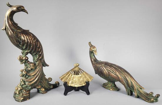 Pair of Pheasant Figurines & Small Decorative Brass Fan w/Stand
