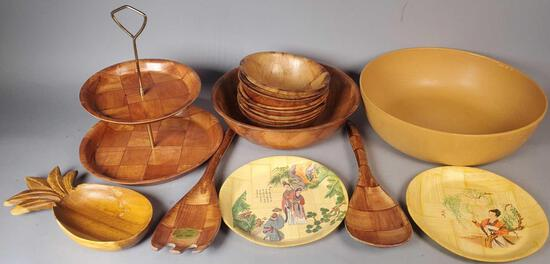 Wood Salad Bowl Set, Tiered Tray, (2) Decorative Bamboo Plates and more