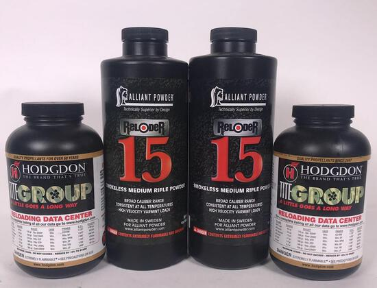 (4) Partial 1 lb Containers of Smokeless Powder (LPO)