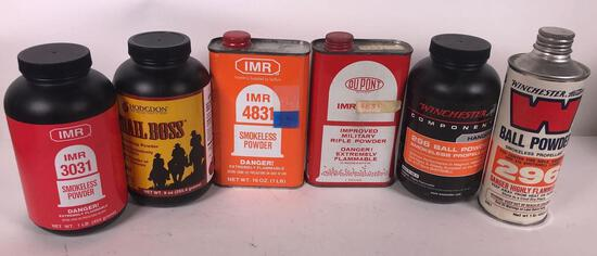 (6) Partial 1 lb Containers of Smokeless Powder