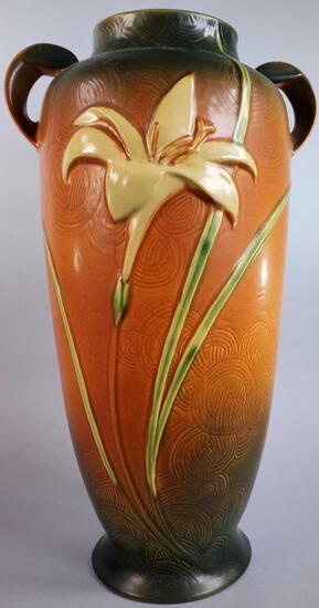 """Roseville Brown Zephyr Lily Floor Vase 142-18"""""""