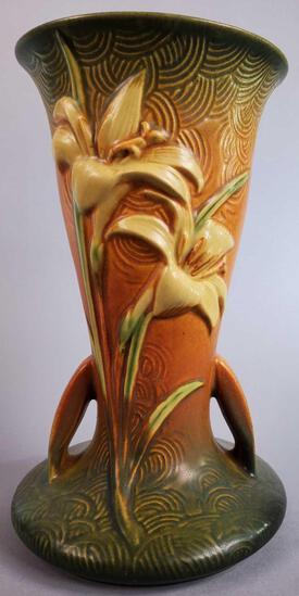 "Roseville Brown Zephyr Lily Tall Vase 136-9"""