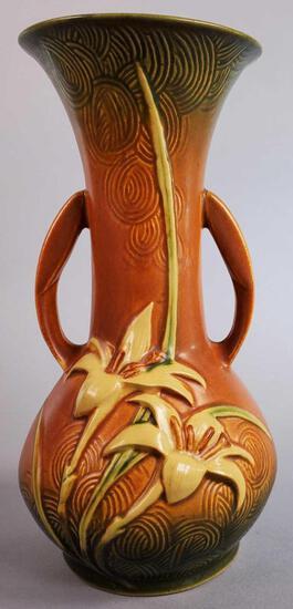 """Roseville Brown Zephyr Lily Vase 137-10"""""""