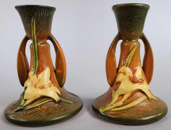 (2) Roseville Brown Zephyr Lily Candleholder 1163-4 1/2