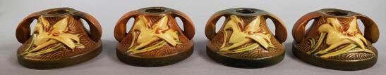 """(4) Roseville Brown Zephyr Lily Candleholder 1162-2"""""""