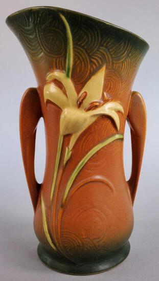 """Roseville Brown Zephyr Lily Vase 135-9"""""""