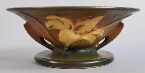 Roseville Brown Zephyr Lily Footed Bowl 473-6