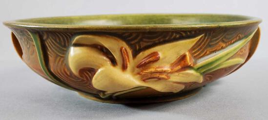 """Roseville Brown Zephyr Lily Bowl 472-6"""""""