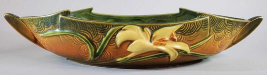 """Roseville Brown Zephyr Lily Console Bowl 478-12"""""""