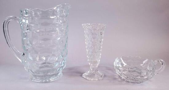 (1) Fostoria American Glass Nappy with Pitcher and Vase