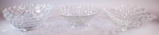 (3) Fostoria Glass American Pattern Clear Bowls
