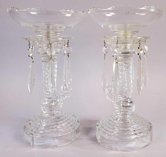 Pair of Clear Glass Lustres with Plastic Prisms