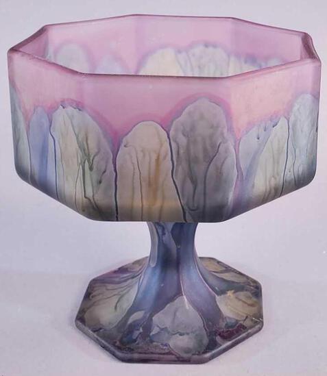 Rueven Nouveau Art Glass Octagonal Compote with Label
