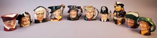 Royal Doulton Miniature Toby Mugs/Pitchers and Long John Silver Character Jug by Staffordshire