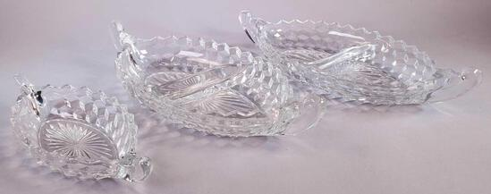 (2) Fostoria American Glass Divided Serving Boat Tray and (1) Small Serving Boat